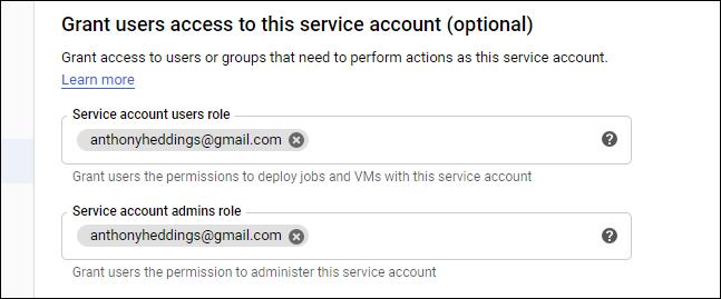 set administrators for service account