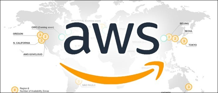 aws logo over world map