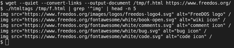 Screenshot showing parsing HTML in Bash
