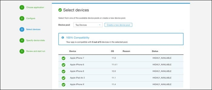 Select all the devices you want to test.