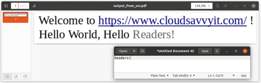 PDF file generated with Tesseract contains text based data