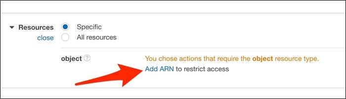 "Choose resources by selecting ""Add ARN"" to restrict access."