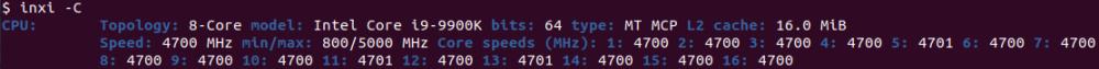 inxi CPU information