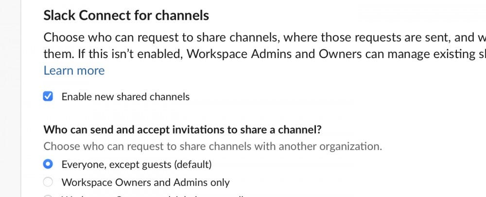Disable slack for channels