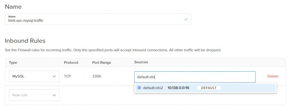 Cloud firewall rule for the VPC traffic area
