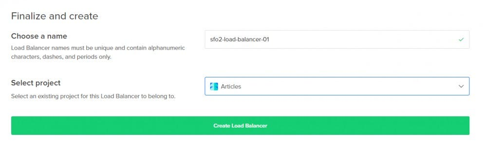 Choose a name for load balancer and click on Create Load Balancer