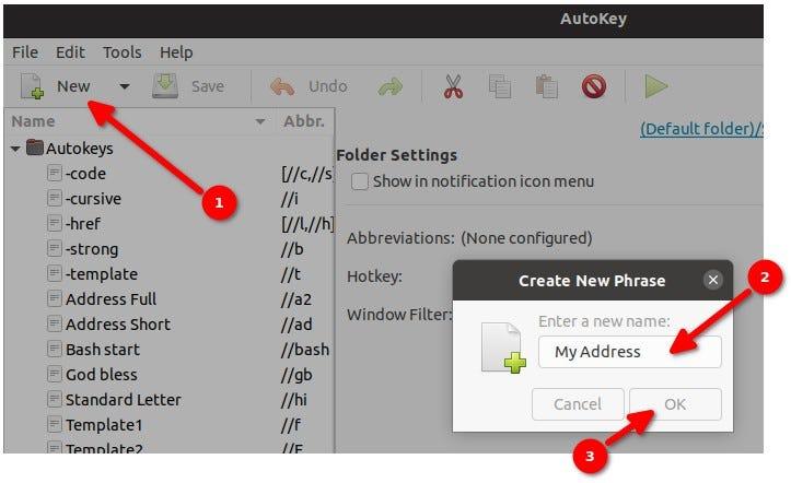 Autokey - creating a phrase