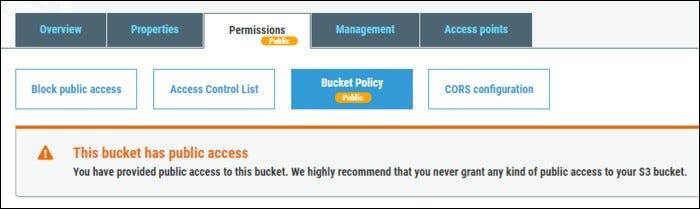 Warning this bucket has blanket public access.