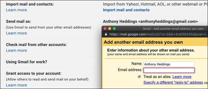 Setting up a Gmail account