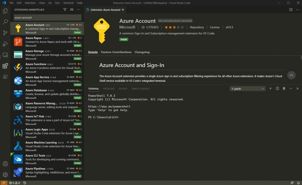 To get started, install the official Azure Account extension from Microsoft.