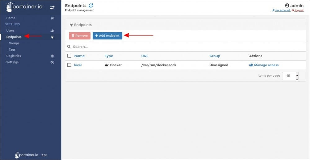 Managing endpoints in Portainer