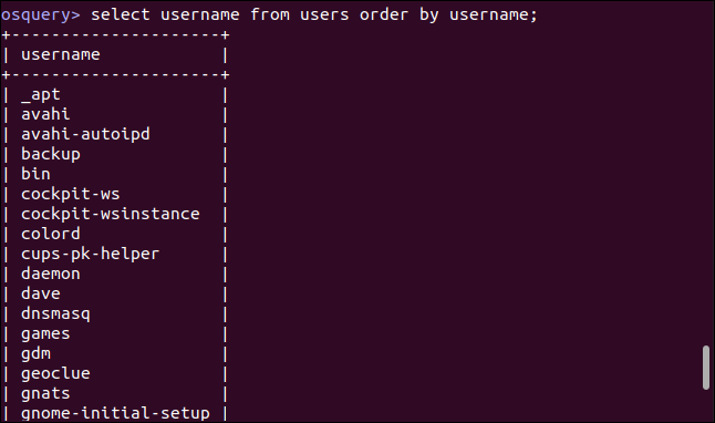 select username from users order by username; in an osquery interactive session