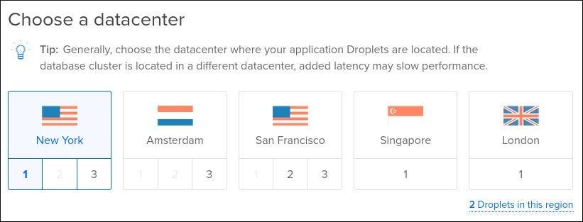 Pillanatkép az adatbázis-fürt régió beállításairól a DigitalOcean-on