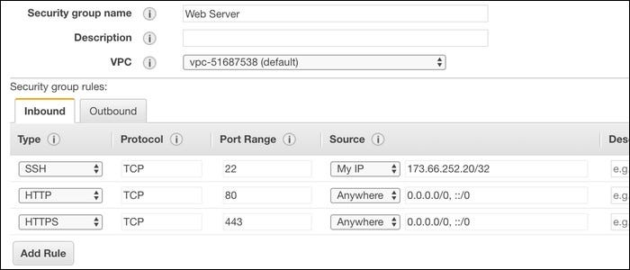 AWS firewall interface