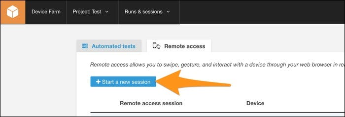 devicefarm launch new session button