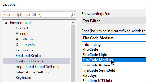 Install the font you select, and then select it from the Fonts menu in the options
