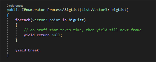 A coroutine configured to only process X items per frame and then yield to the next frame.