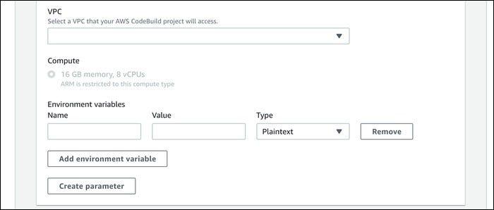 codebuild vpc settings