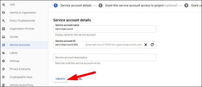 Specify a name for the service account
