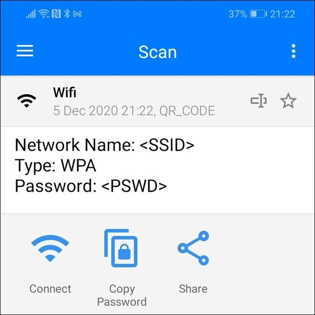 Scan results for a Wi-Fi QR code