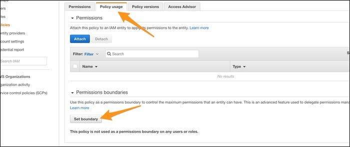 "Manually setting the boundary for a given user under the ""Policy Usage"" tab."