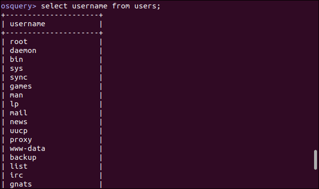 select username of users;  in an osquery interactive session