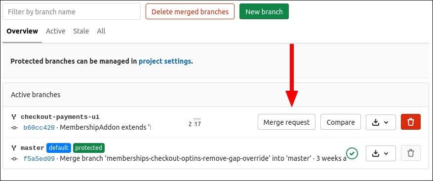 Screenshot of creating a merge request in GitLab