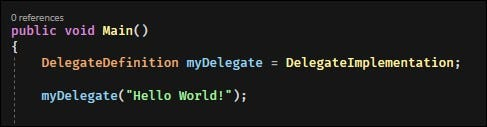 The .NET runtime looks at what method the delegate points to and invokes it.