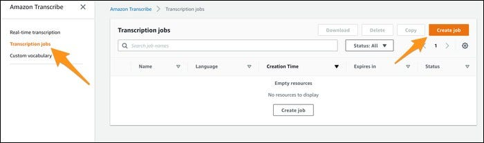 transcribe create new job button