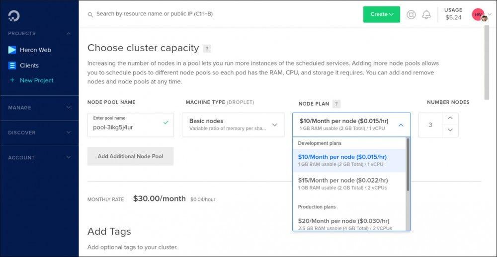 Screenshot of DigitalOcean Kubernetes cluster node options