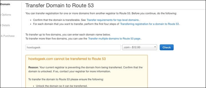 Domain transfer error.