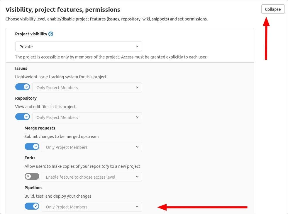 Képernyőkép a csővezetékek engedélyezéséről a GitLab-ban