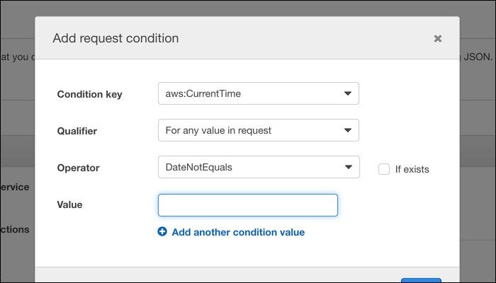 "Click ""Add Condition"" to specify extended conditions that the request must meet before being approved."