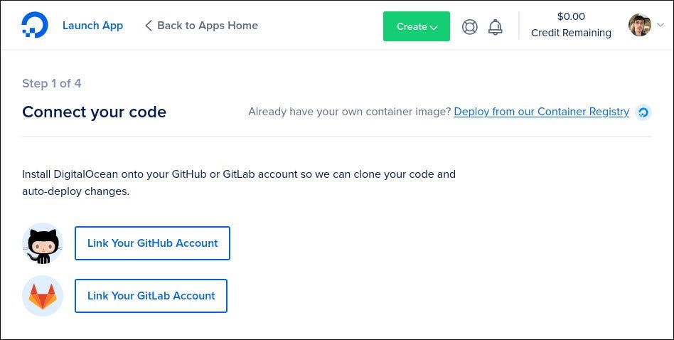 Screenshot of creating an app in DigitalOcean App Platform
