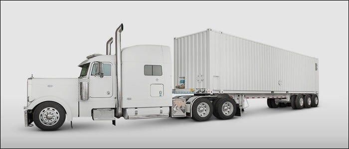 The AWS Snowmobile trailer.