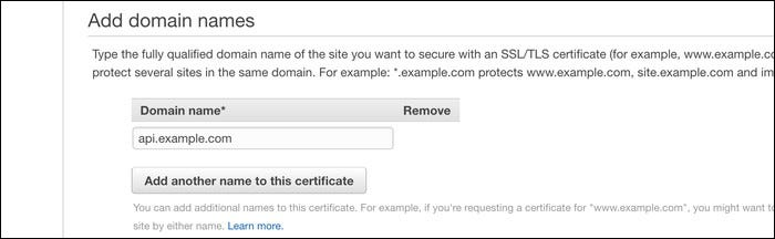 Add the domain name you want to secure for an SSL/TSL certificate here.