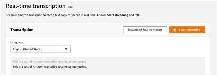 aws transcribe test