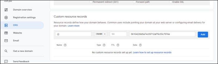 """link your domain with an IP address by going to """"DNS"""" in the sidebar and scrolling down to the """"Custom Resource Records"""" section."""