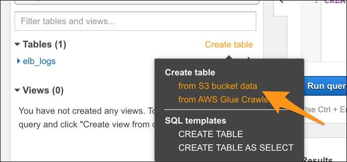 "Click ""Create Table,"" and select ""from S3 Bucket Data"" to create a table."