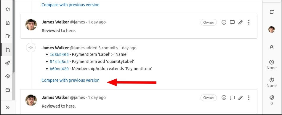 Screenshot showing extra commits added to a GitLab merge request