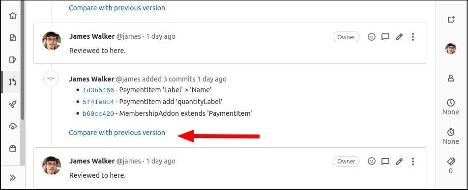 Pillanatkép a GitLab egyesítési kérelemhez hozzáadott extra kötelezettségekről
