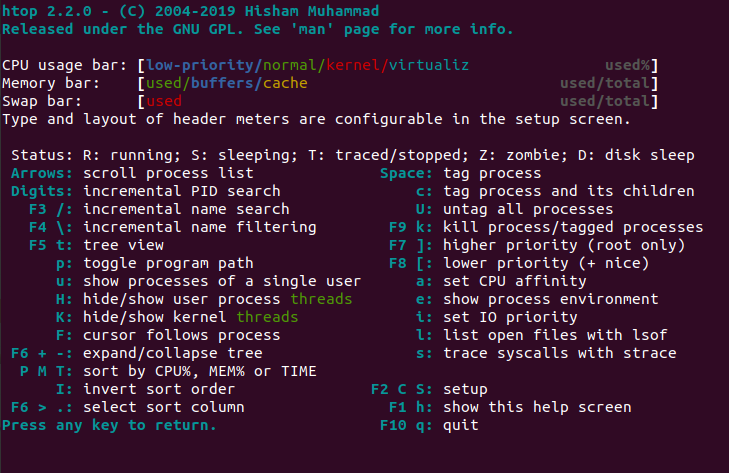 htop keyboard shortcuts and color key